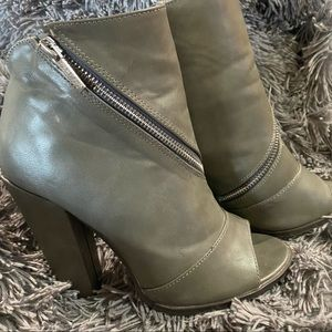 Michael Antonio Gray Peep Toe Zipper Booties